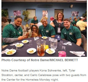 Notre Dame Football at Homeless Center