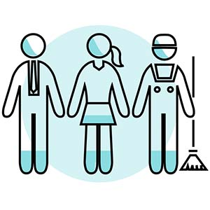 Icon of three people with different work uniforms standing together