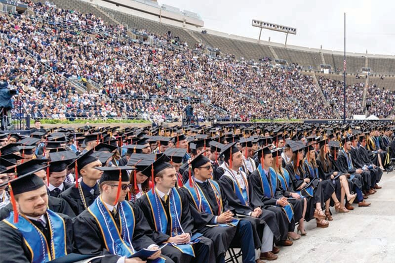 Graduates sit in ND Stadium during Commencement.