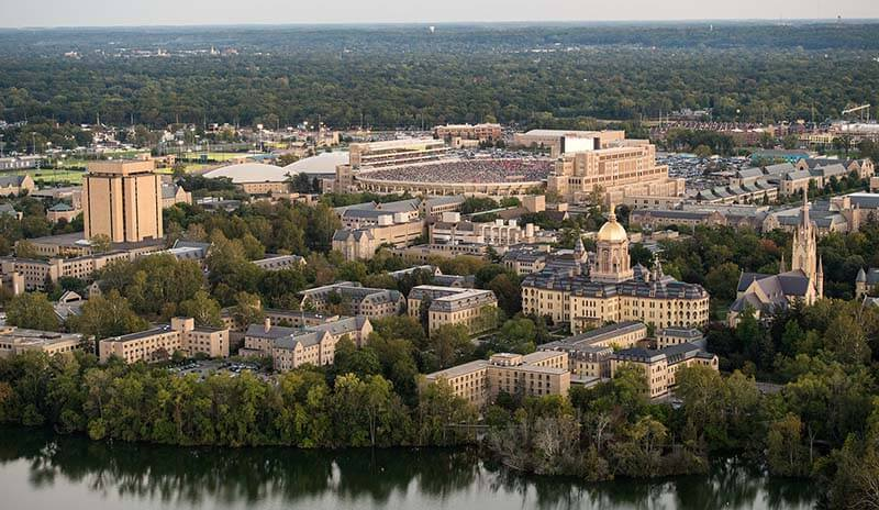 An aerial view of campus and Notre Dame Stadium.
